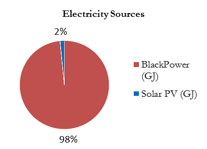 The pie chart indicates that in 2016-17, 98% of electricity was sourced from black power and 2% of electricity was sourced from Solar PV.