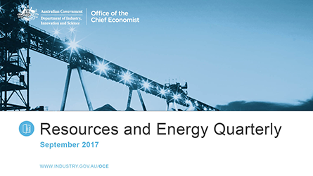 Resources and Energy Quarterly publication cover September 2017