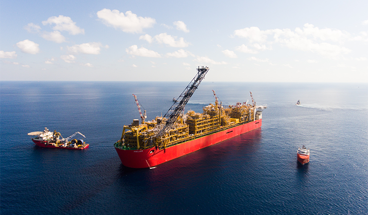 Photo of the Shell Prelude natural gas facility in Australian ocean waters.