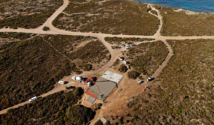 An aerial view of the Whalers Way launch site, under construction