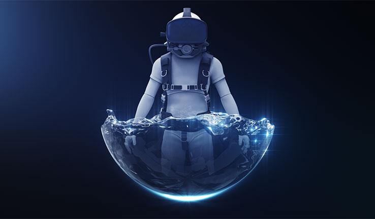 The Raytracer Pilot System Design depicts an astronaut immersed in water while wearing Raytracer's Titan Lake virtual reality headset.