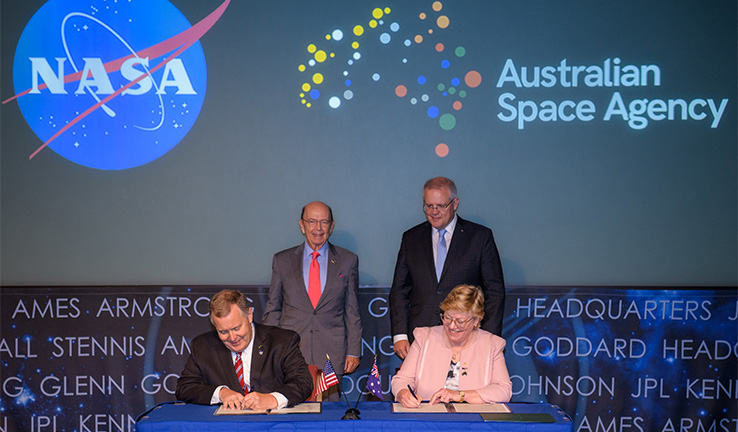 The signing of a letter of intent between NASA and the Australian Space Agency