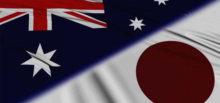 Photo of Australian and Japanese flags.