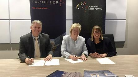 A photo of Frontier and Australian Space Agency leaders signing the statement.
