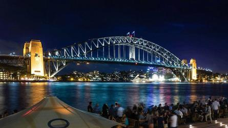 Sydney Harbour Bridge at night as viewed from the Opera House